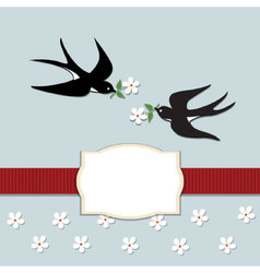 Swallows and flowers vector