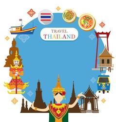 Thailand Landmark Objects Icons Frame vector image