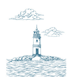 Tokarevskiy lighthouse in vladivostok vector