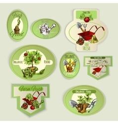Vegetable gardening emblems vector
