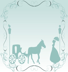 vintage frame carriage and lady vector image