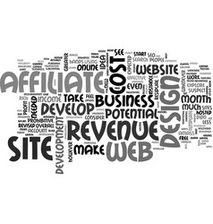 Web design and affiliate revenue text word cloud vector