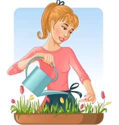 Woman watering her flowers with can vector image
