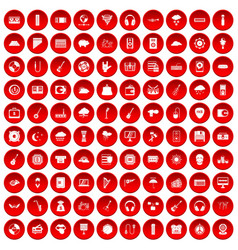 100 music festival icons set red vector