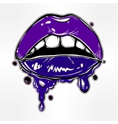 Sexy woman lips with dripping blood or make up vector