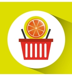 Basket market sweet orange icon design vector