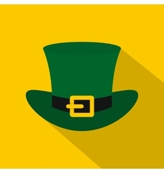 Green top hat with buckle icon flat style vector