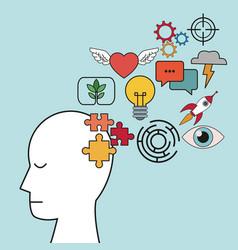 Profile human head puzzle focus innovation vector