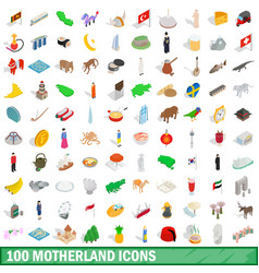 100 motherland icons set isometric 3d style vector