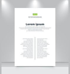 Blank paper template on shelf with spotlights vector