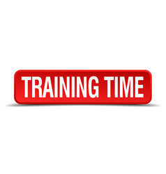 Training time red 3d square button isolated on vector