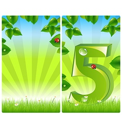 2 colorful nature banners vector