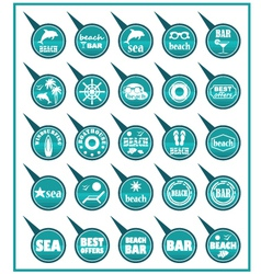 Set of beach map pointers vector