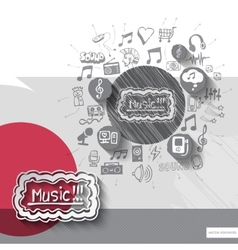 Hand drawn music notice icons with icons vector