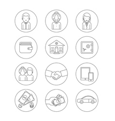 Business theme icons vector