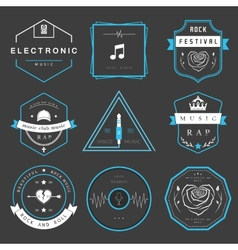 Badges rock rap classical and disco music vector