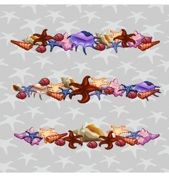 Creatures of sea clams three horizontal sets vector