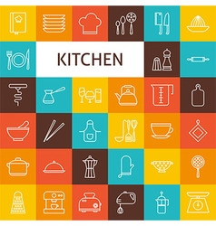 Line art kitchenware and cooking utensils icons vector