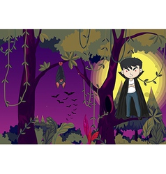 A jungle with a vampire vector image