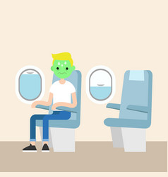 Aerophobia concept panic in the plane young blond vector