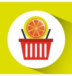 Basket market sweet orange icon design vector