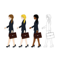 Business woman walking and holding briefcase vector