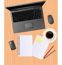 computer notebook on the table vector image vector image