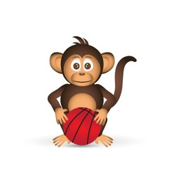 cute chimpanzee with basketball ball sport little vector image vector image