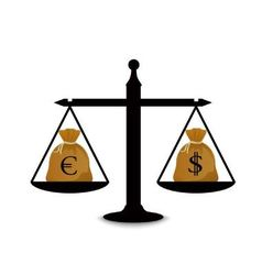 Dollar and euro on scales vector image