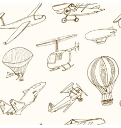 Doodle aviation seamless pattern vintage vector