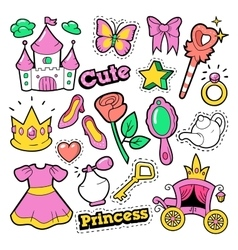 Girl princess badges patches stickers vector