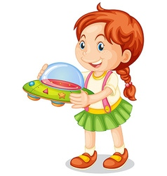 Happy girl holding toy spaceship vector image vector image