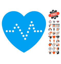 heart pulse icon with lovely bonus vector image