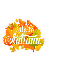 Hello autumn yellow leaf fall banner abstract vector