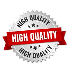 High quality 3d silver badge with red ribbon vector