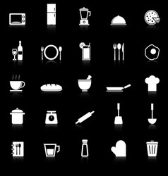 Kitchen icons with reflect on black background vector