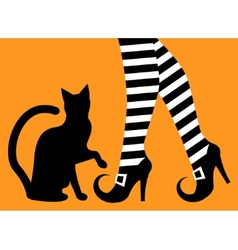 Legs witch and black cat vector
