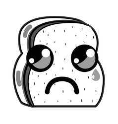 Line kawaii cute crying chopped bread vector
