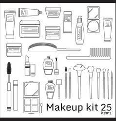 Makeup kit cosmetic set vector