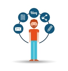 man bearded standing with social network icon vector image vector image