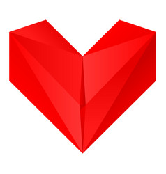 origami red heart vector image