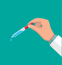 Pipette with drop in hands doctor vector