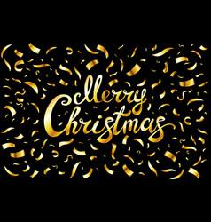 Pretty merry christmas card template gold glitter vector
