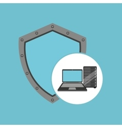 protection laptop data server vector image