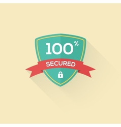 Security shield icon badge in flat style vector