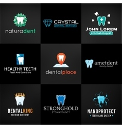 Set of tooth logos Oral care symbols collection vector image