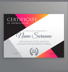 Stylish certificate design template with minimal vector