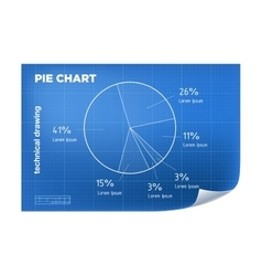 Technical wireframe with pie chart vector