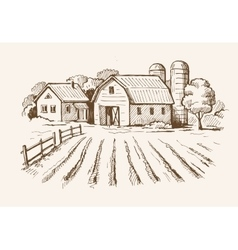 village and landscape farm vector image