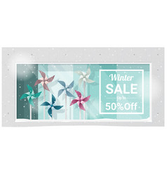Winter sale window display background vector